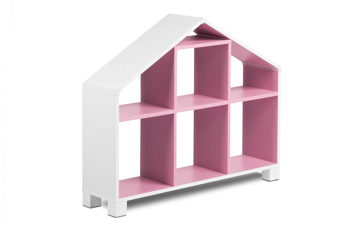 KONSIMO Dětský regál k posteli MIRUM 04 bílý růžový