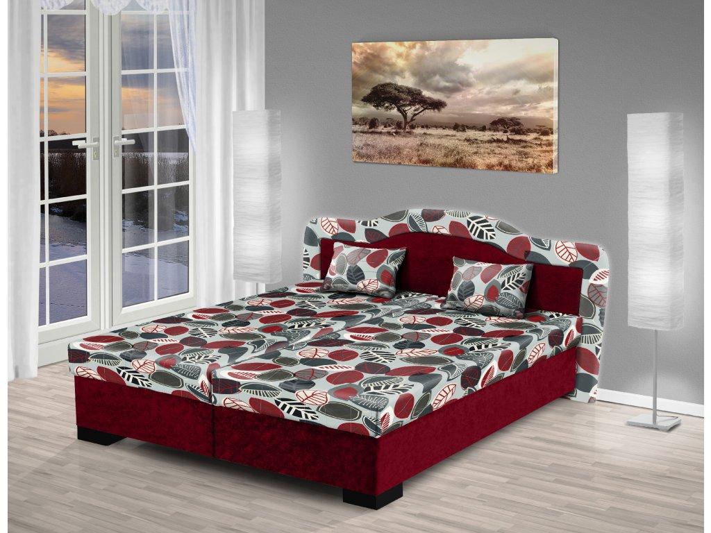 Čalúnená manželská posteľ s úložným priestorom Zuzana 200x180 bordó