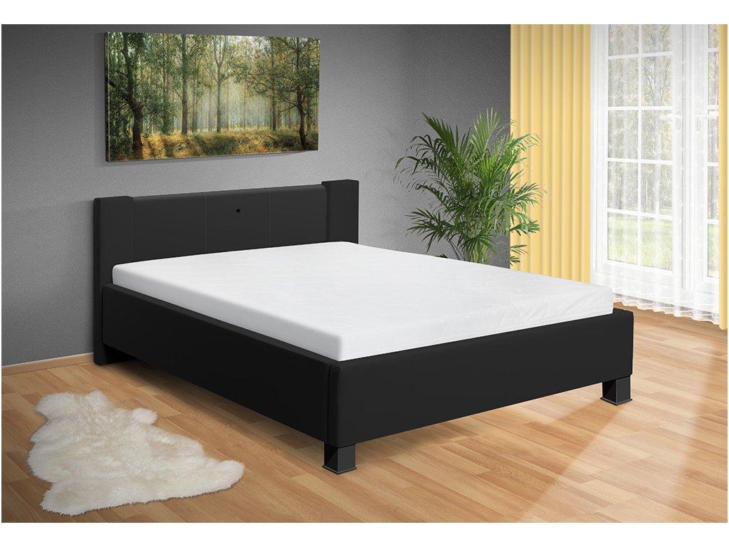 Moderná posteľ s lamelovým roštom a ľad svetlom Luna čierna