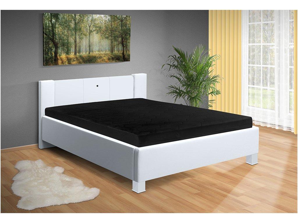Manželská posteľ s lamelovým roštom a ľad svetlom Luna 200x160 cm bílá