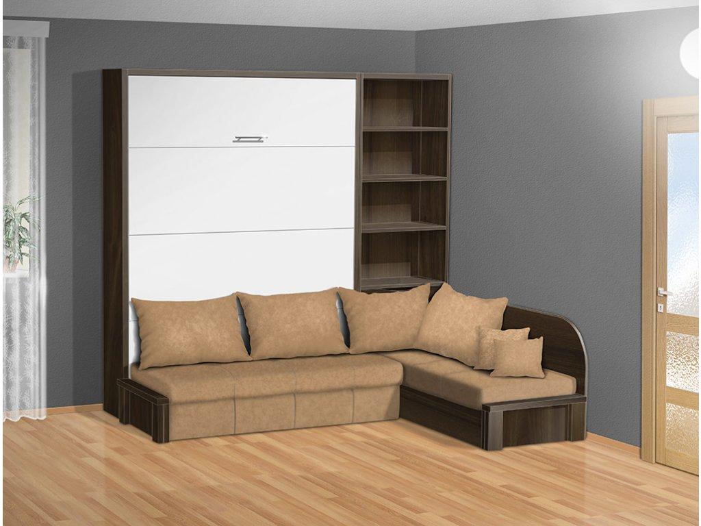 Sklápacie výklopná posteľ VS 3075P 200x140 cm orech/biele dvere