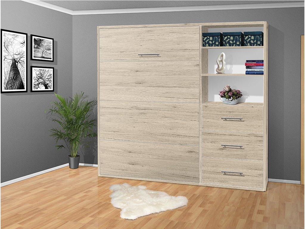 Výklopná sklápacie posteľ s roštami a šuplíky 2054- 200x120 cm San remo