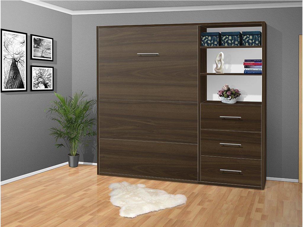 Výklopná sklápacie posteľ s roštami a šuplíky 2054- 200x160 cm Orech
