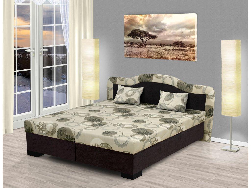 Čalúnená manželská posteľ s úložným priestorom Zuzana hnedá