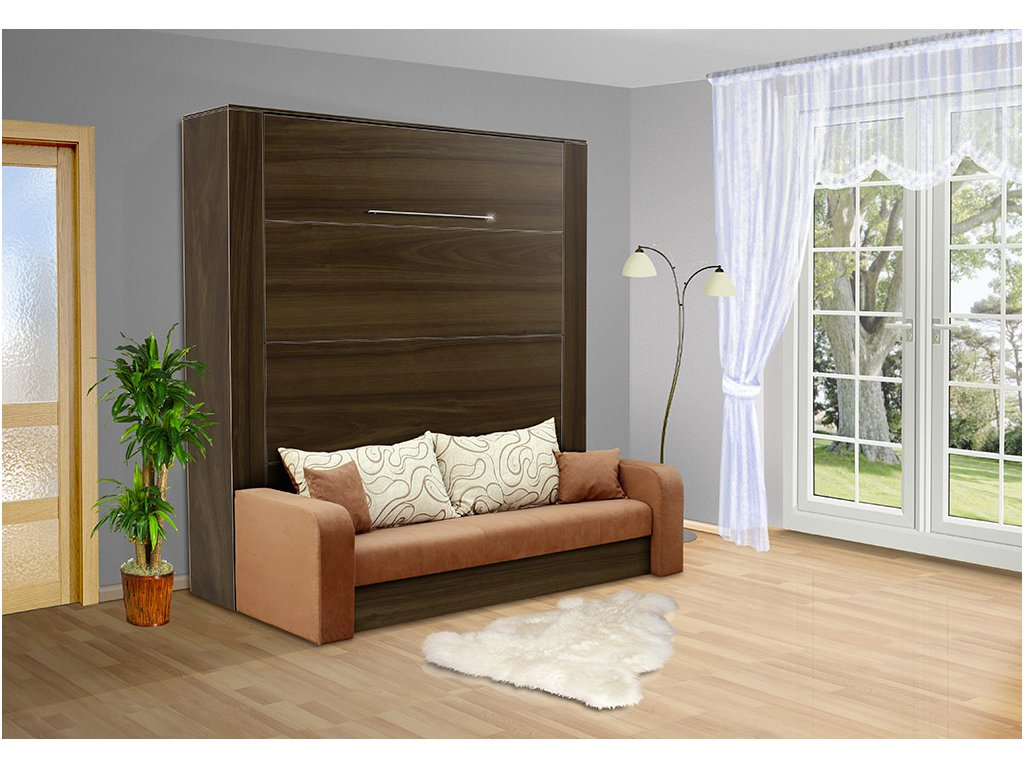 Výklopná sklápacie posteľ s pohovkou VS 3071 200x140 cm orech