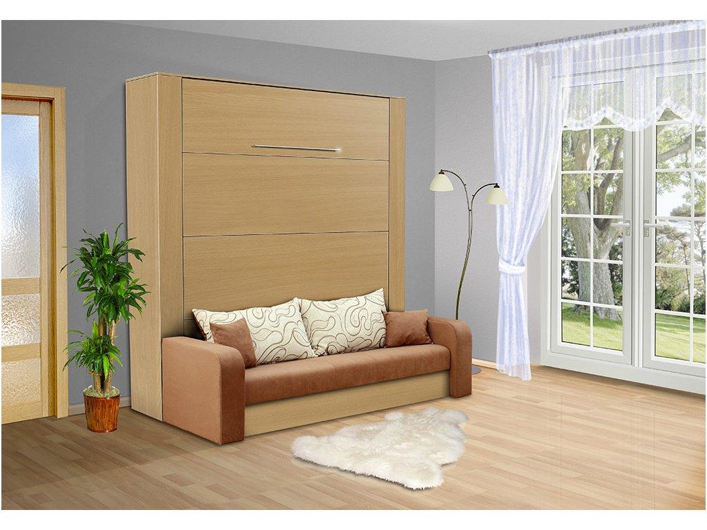 Sklápacie výklopná posteľ s pohovkou VS 3071P 200x180 cm buk