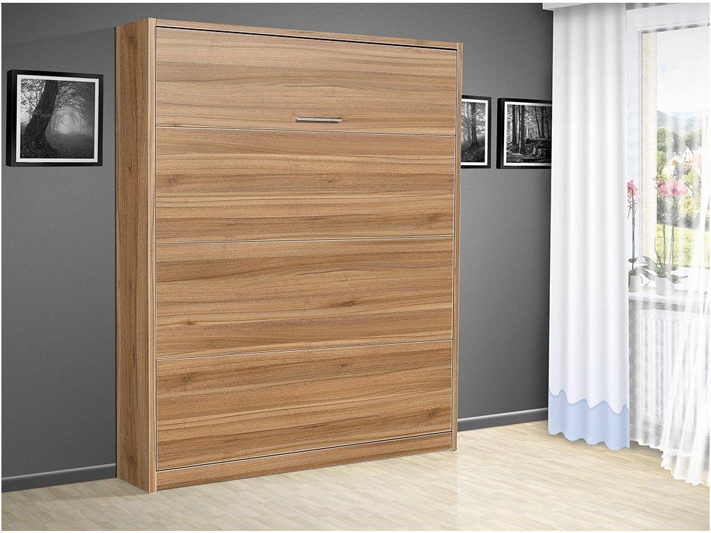 Sklápacie výklopná posteľ VS 3054 P 200x180 cm orech/biele dvere