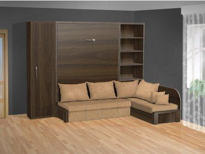 Sklápacia posteľ s rohovou pohovkou VS 3075P orech