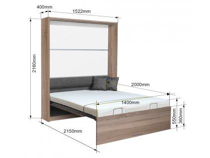 Sklápacia posteľ VS 1054 P - 200x140 cm
