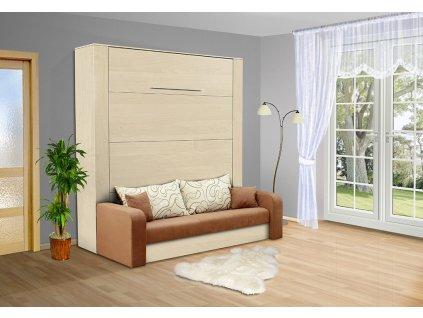 Výklopná sklápacie posteľ s pohovkou VS 3071 200x160 cm breza