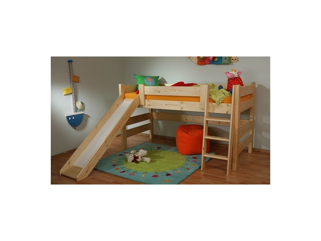 0000210 detska patrova postel sendy nizka se skluzavkou