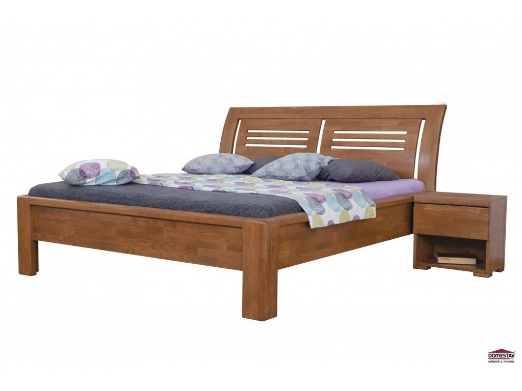 FLORENCIA manželská postel čelo oblé 2 výplně  buk cink