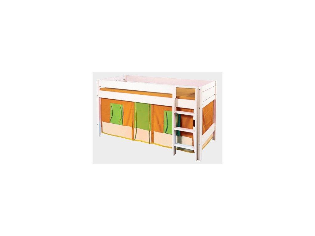 látkový domeček oranžovo-zelený pod vyvýšenou postel Gazel Sendy
