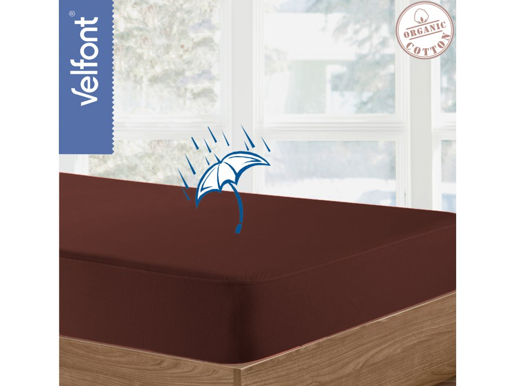 Velfont HPU Respira prostěradlo a matracový chránič 90x200 cm - čokoládová