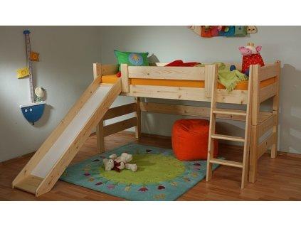 dětská patrová postel Sendy se skluzavkou
