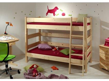 Gazel Sendy etážová postel 90 x 220 cm palanda 180 cm přírodní  + 2 kapsy na postel ZDARMA