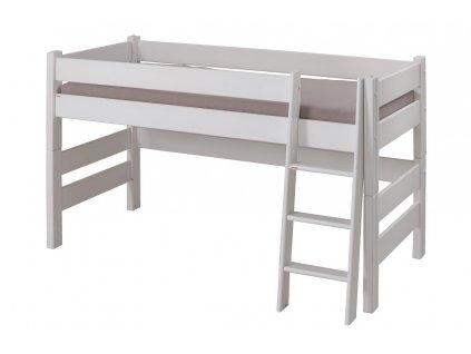 Dětská patrová postel Sendy nízká buk BÍLÁ