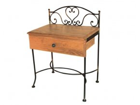 kovaný noční stolek s dřevěnou deskou se zásuvkou Malaga