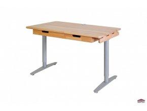 Dřevěný psací stůl s kovovou podnoží