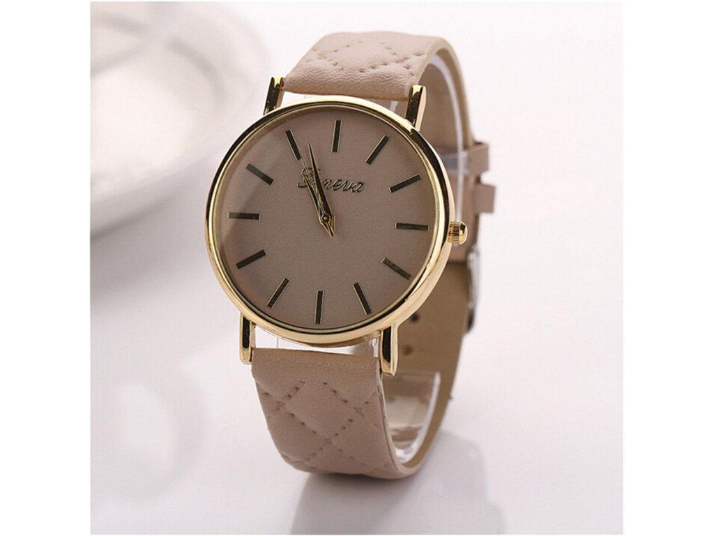 e65ad8005 ... Kožené prošívané hodinky Geneva béžové ...