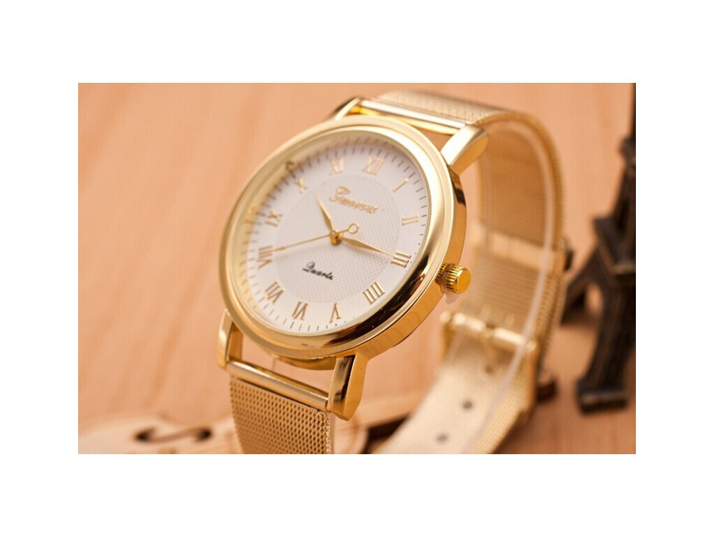 36c3f9e84 Zlaté páskové hodinky Geneva římské Zlaté páskové hodinky Geneva římské
