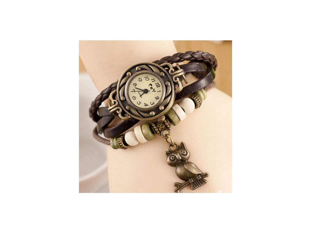 56bfd2268c9 Kožené Vintage hodinky Sova - 6 barev - Načančaná.cz