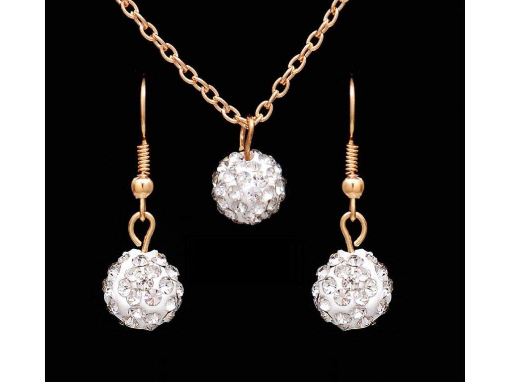 0d91787ef Sada Diamantové kuličky náušnice řetízek s přívěškem bílé