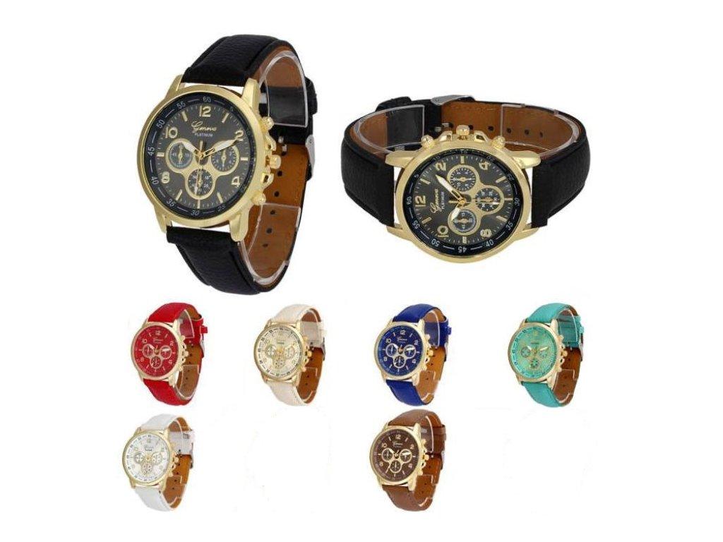 Unisex kožené hodinky Geneva Platinum chrono - 7 barev - Načančaná.cz 03f7c2f8c3