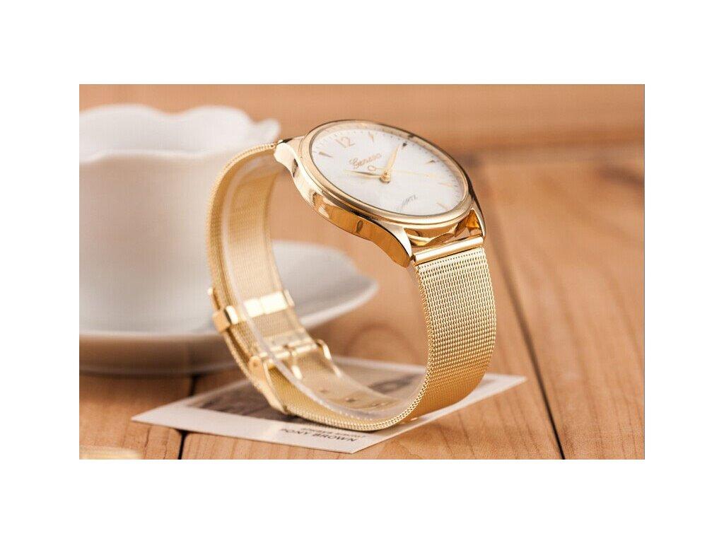8df973663 Zlaté páskové hodinky Geneva dámské - Načančaná.cz