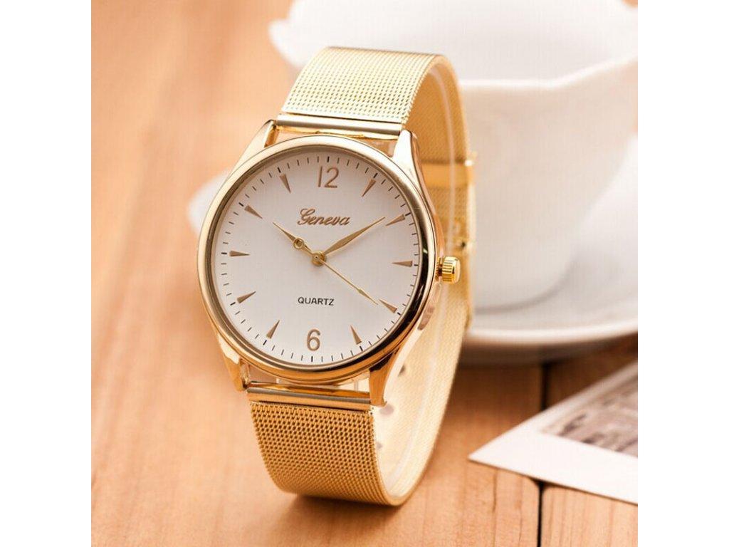 Zlaté páskové hodinky Geneva dámské - Načančaná.cz 8721d5fb685