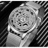 Extravagantní unisex kovové hodinky stříbrné
