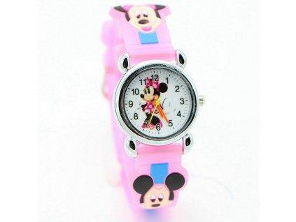 Dětské růžové hodinky Roztomilá Minnie