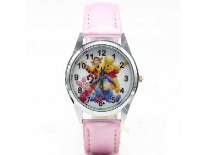Dětské růžové hodinky Medvídek Pú