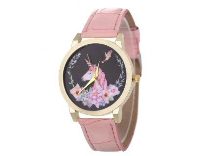 Dámské hodinky s jednorožcem růžové