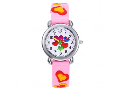 Dětské růžové hodinky Barevná srdíčka