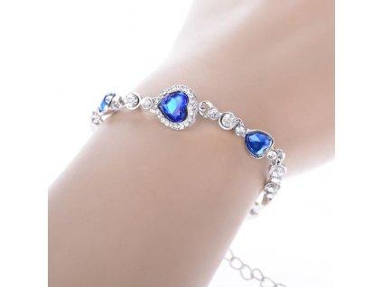 Náramek Zářivá srdíčka modrá