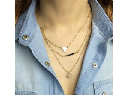 3 vrství náhrdelník Trojúhelník