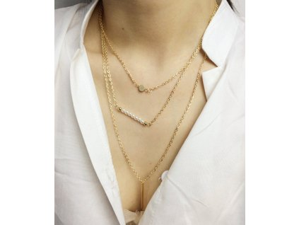 3 vrstvý náhrdelník s korálky
