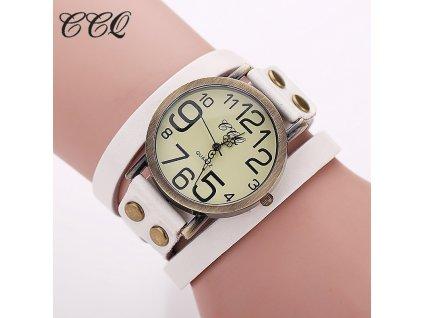 Vintage hodinky kožené bílé