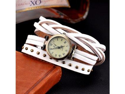 Kožené retro hodinky bílé
