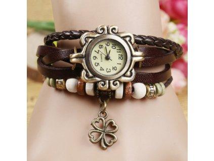 Vintage hodinky čtyřlístek hnědá
