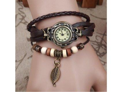 Kožené Vintage hodinky Lístek hnědé