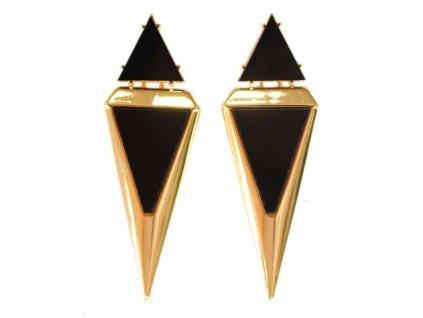 Náušnice zlato-černý Trojúhelník
