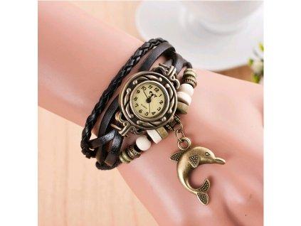 Vintage hodinky Delfín Hnědá
