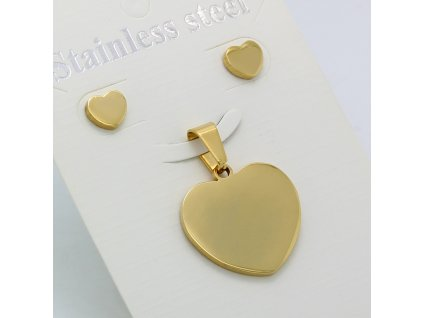 Sada přívěšek a náušnice Srdce ze zlata