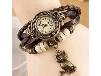 Kožené Vintage hodinky Sova hnědé