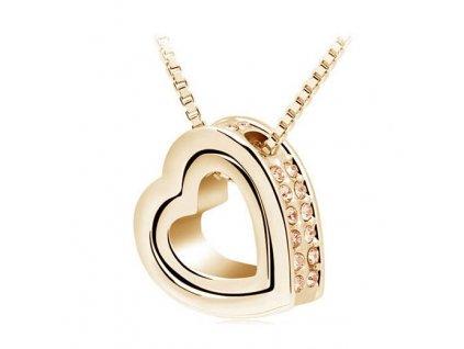 Zlatý náhrdelník Dvojité srdce