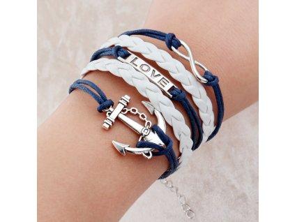 Vintage kožený náramek Námořní láska modrý
