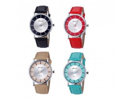 Úžasné kožené Retro hodinky Geneva Mix barev