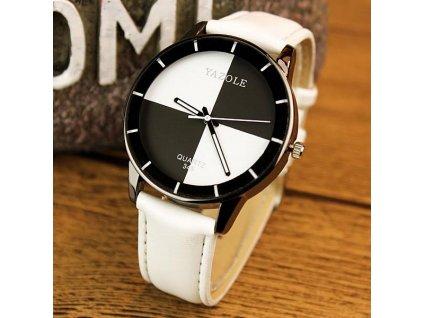 Nekonvenční módní kožené hodinky bílé